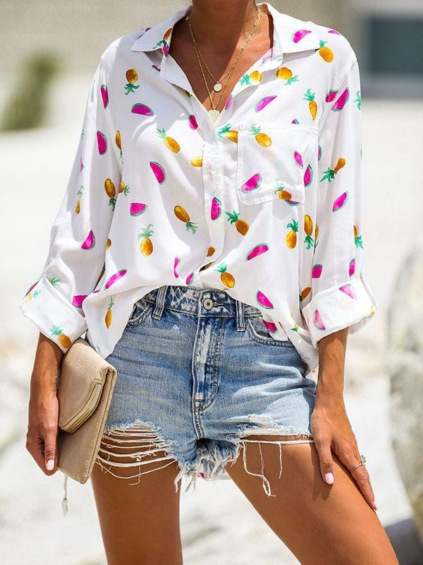 Tropical Cooler Button Down Blouses
