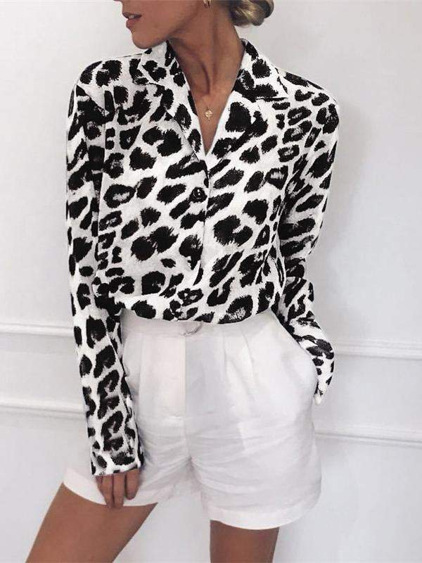 Free Shipping Leopard V-neck Blouse