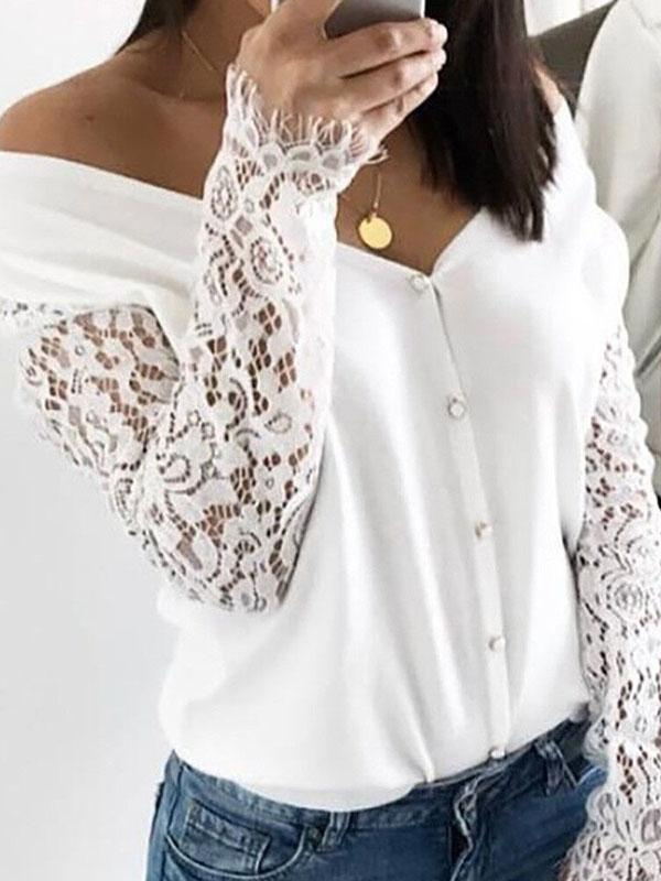 Lace off-the-shoulder long-sleeved Blouses