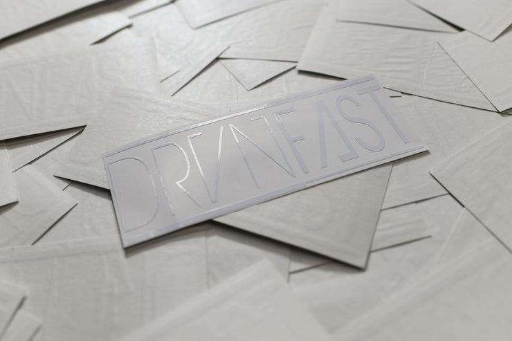 "WHITE CLASSIC DRVNFAST DECAL (7"" x 3"")"