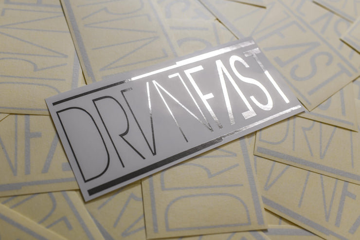 "SILVER CLASSIC DRVNFAST DECAL (7"" x 3"")"