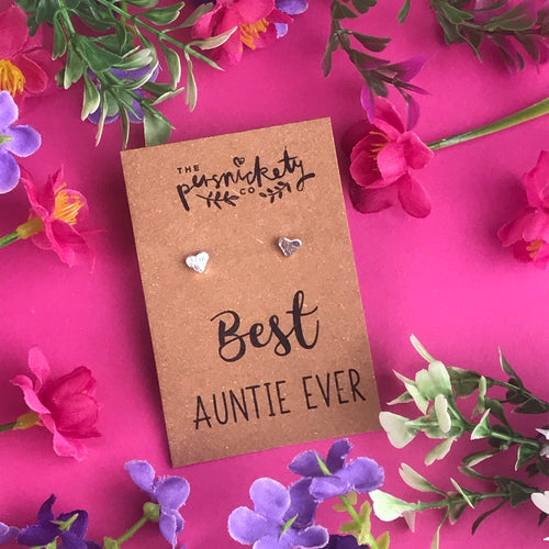 Best Auntie Ever - Heart Earrings - Gold / Rose Gold / Silver-The Persnickety Co