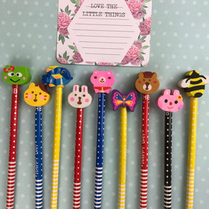 Happy Day Animal Rubber Topped Pencil-3-The Persnickety Co
