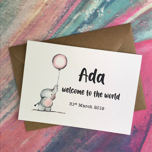 Personalised Welcome To The World Baby Girl Card-The Persnickety Co