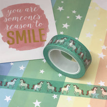 Load image into Gallery viewer, Teal Unicorn Washi Tape-3-The Persnickety Co