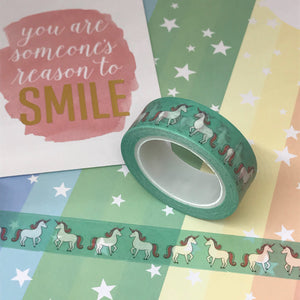Teal Unicorn Washi Tape-3-The Persnickety Co