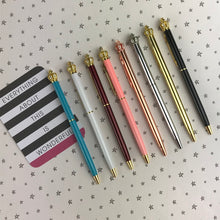 Load image into Gallery viewer, Diamante Crown Top Ballpoint Pen-The Persnickety Co