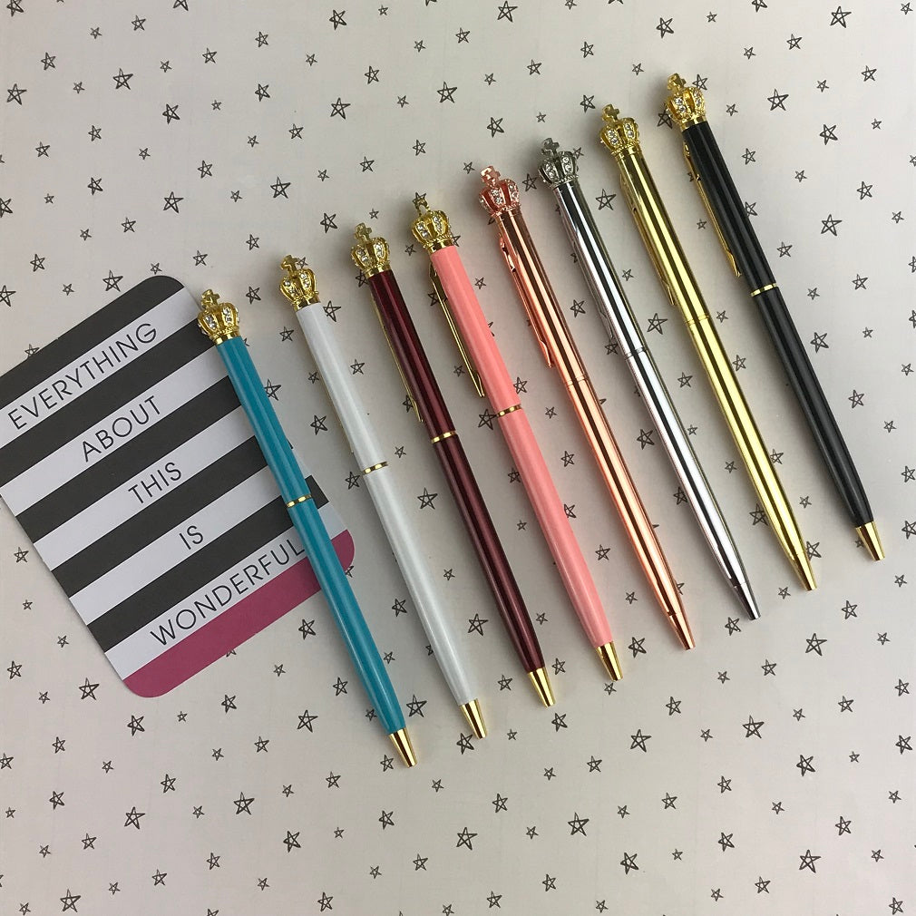 Diamante Crown Top Ballpoint Pen-The Persnickety Co