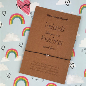 Friends Like You Are Precious And Few Heart Wish Bracelet-The Persnickety Co