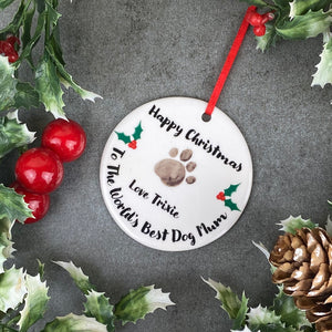 Personalised Happy Christmas World's Best Dog Mum - Hanging Decoration-9-The Persnickety Co