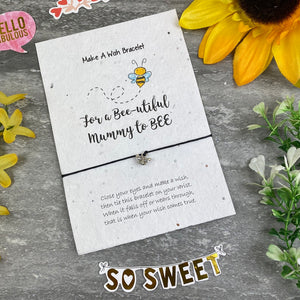 Mummy To Bee Wish Bracelet On Plantable Seed Card-10-The Persnickety Co