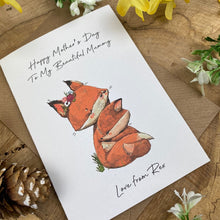 Load image into Gallery viewer, Fox Mother's Day Personalised Card-6-The Persnickety Co