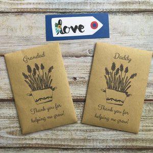 Daddy/ Grandad Thank You For Helping Me Grow! Mini Kraft Envelope with Wildflower Seeds-6-The Persnickety Co