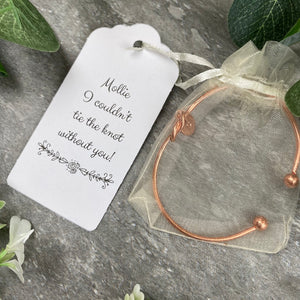Wedding Knot Bangle With Initial Charm in Rose Gold-6-The Persnickety Co