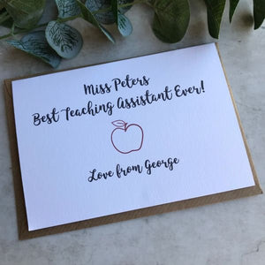 Personalised Best Teacher/Teaching Assistant Ever Card-5-The Persnickety Co