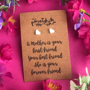 A Mother Is Your First Friend - Heart Earrings - Gold / Rose Gold / Silver-6-The Persnickety Co