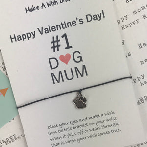 Happy Valentine's Day No. 1 Dog Mum Wish Bracelet-4-The Persnickety Co