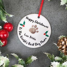 Load image into Gallery viewer, Personalised Happy Christmas World's Best Dog Mum Hanging Decoration-3-The Persnickety Co