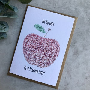 Personalised Apple Teacher Card-The Persnickety Co