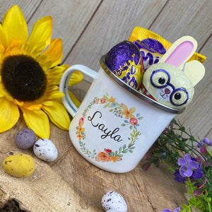 Cheryl's Pick of the Month - Easter Wreath Enamel Mug - Girl Rabbit