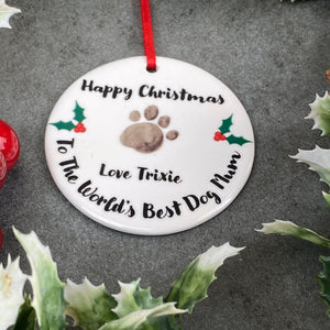 Personalised Happy Christmas World's Best Dog Mum - Hanging Decoration-5-The Persnickety Co