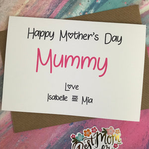 Happy Mother's Day Mummy/Mum/Mom/Mam Personalised Card-4-The Persnickety Co