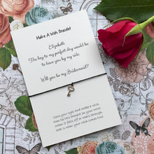 Load image into Gallery viewer, Bridesmaid Proposal - The Key To My Perfect Day... Wish Bracelet-6-The Persnickety Co