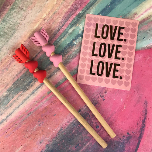 Love Heart Arrow Pencil and Eraser-The Persnickety Co