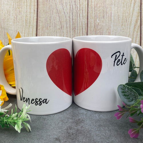 His and Hers Personalised Red Love Heart Set of 2 Mugs-The Persnickety Co
