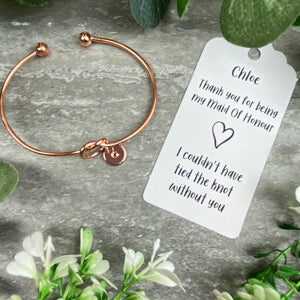 Maid Of Honour Knot Bangle With Initial Charm - Rose Gold-8-The Persnickety Co