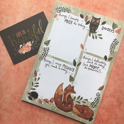 Woodland Friends A5 Notepad-The Persnickety Co