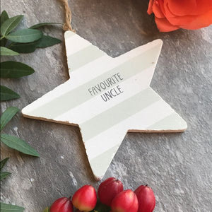 Favourite Uncle Wooden Hanging Star By Gisela Graham-4-The Persnickety Co