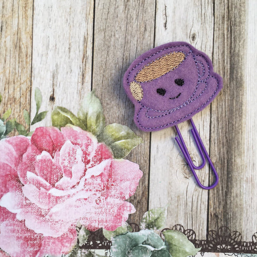 Purple Felt Teacup Paper Clip-The Persnickety Co