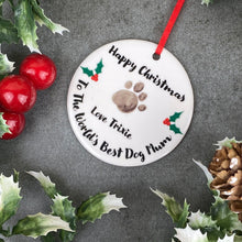 Load image into Gallery viewer, Personalised Happy Christmas World's Best Dog Mum - Hanging Decoration-6-The Persnickety Co