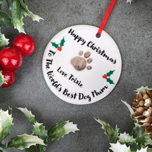 Personalised Happy Christmas World's Best Dog Mum - Hanging Decoration-6-The Persnickety Co