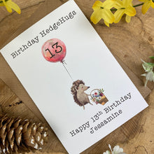 Load image into Gallery viewer, Birthday Hedgehugs - Personalised Card-2-The Persnickety Co