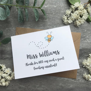 Personalised Bee Teacher Card-8-The Persnickety Co