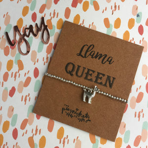 Llama Queen Beaded Charm Bracelet-2-The Persnickety Co