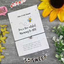 Load image into Gallery viewer, Mummy To Bee Wish Bracelet On Plantable Seed Card-The Persnickety Co
