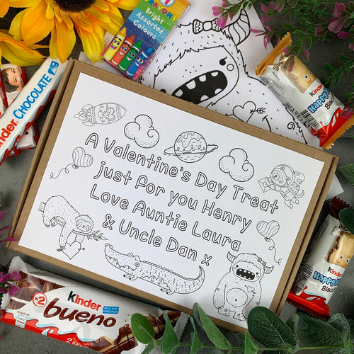 Personalised Kinder Treat Colouring In Valentine's Chocolate Box-The Persnickety Co