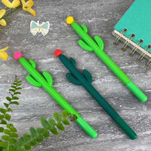 Cactus 'PomPom' Topped Gel Pen-The Persnickety Co