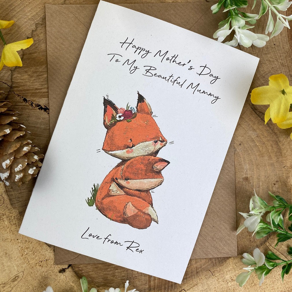 Fox Mother's Day Personalised Card-The Persnickety Co