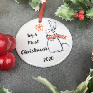 Personalised First Christmas Hanging Decoration-3-The Persnickety Co