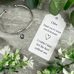 Bridesmaid Knot Bangle With Initial Charm, Silver-3-The Persnickety Co