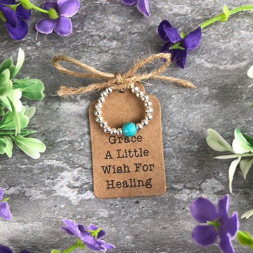 A Little Wish For Healing - Turquoise Stretch Ring-The Persnickety Co