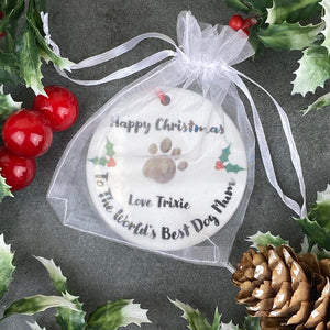 Personalised Happy Christmas World's Best Dog Mum - Hanging Decoration-7-The Persnickety Co