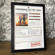Load image into Gallery viewer, Grandad of The Year Framed Application Form-2-The Persnickety Co
