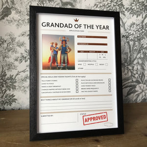 Grandad of The Year Framed Application Form-2-The Persnickety Co