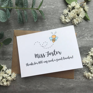 Personalised Bee Teacher Card-6-The Persnickety Co