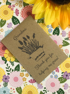 Grandma Thank You For Helping Me Grow Mini Kraft Envelope with Wildflower Seeds-2-The Persnickety Co